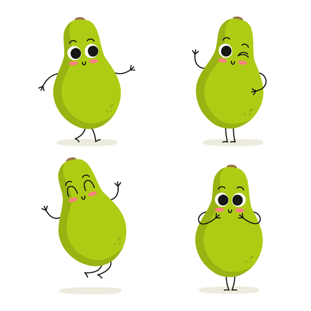 Papaya. Cute cartoon exotic fruit vector character set isolated on white Фото со стока - 125945624