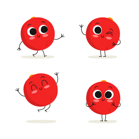 Cranberry. Cute berry vector character set isolated on white  イラスト・ベクター素材