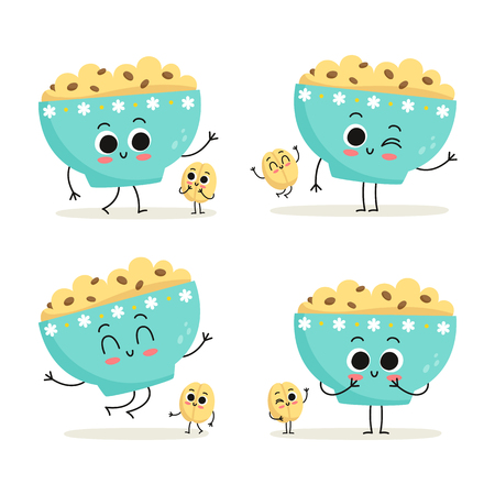 Oatmeal. Cute cartoon vegan protein food vector character set - bowl of oatmeal and oat grain - isolated on white Illustration