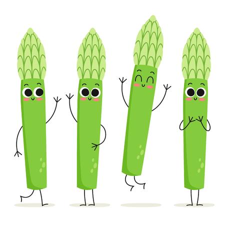 Asperges. Jeu de caractères de vecteur de légumes mignon isolé sur blanc