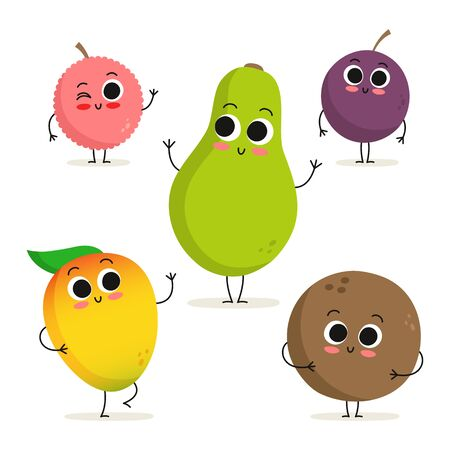 Adorable collection of five exotic fruit cartoon characters isolated on white: lychee, mango, papaya, passion fruit and coconut Иллюстрация