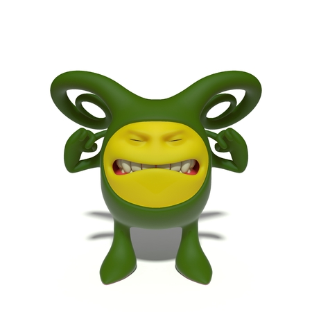 covering eyes: 3d image. The funniest character on an isolated white background.
