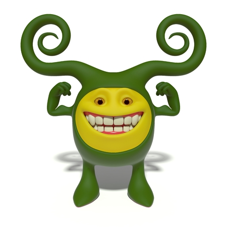 boast: 3d image. The funniest character on an isolated white background.