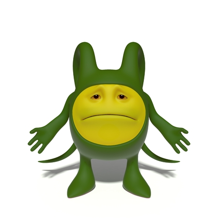 mournful: 3d image. The funniest character on an isolated white background.