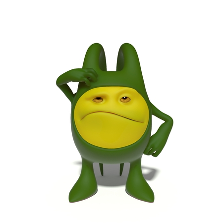 alien face: 3d image. The funniest character on an isolated white background.
