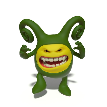 enraged: 3d image. The funniest character on an isolated white background.