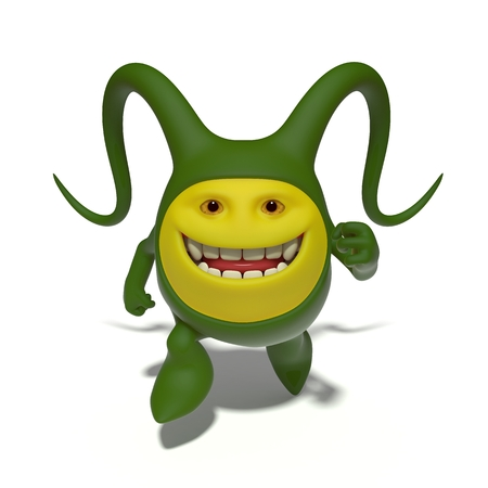endurance run: 3d image. The funniest character on an isolated white background.