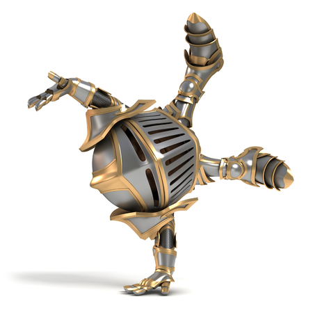 cartwheel: Cartoon knight gnome. The isolated image on a white background.
