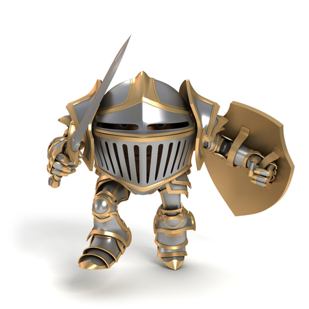 pygmy: Cartoon knight gnome. The isolated image on a white background.