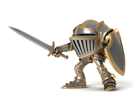 Cartoon knight gnome. The isolated image on a white background.