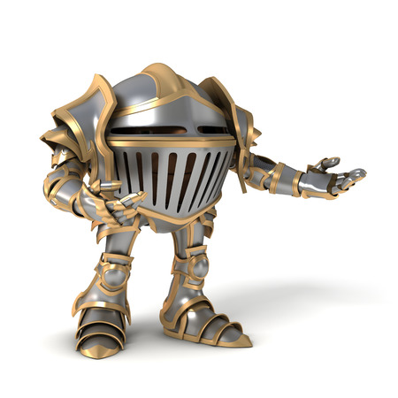 indicate: Cartoon knight gnome. The isolated image on a white background.