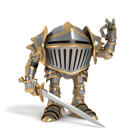 knightly: Cartoon knight gnome. The isolated image on a white background.