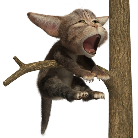 Cat yawning on a tree. 3d illustration. Isolated white background