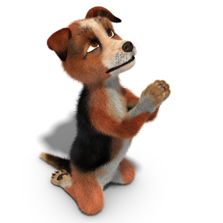 Dog praying on his knees. 3D illustration. Isolated white background