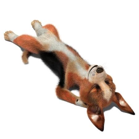 Dog sleeps on the floor. 3D illustration. Isolated white background