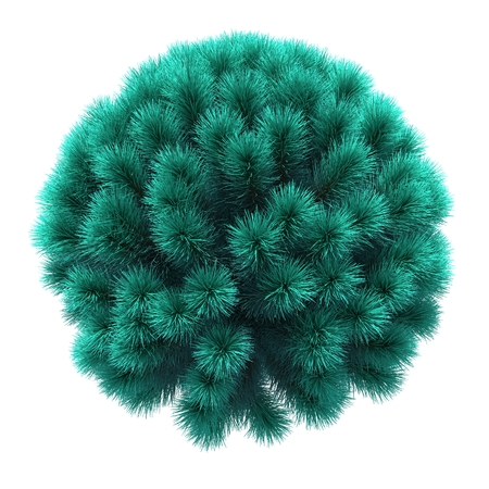 Christmas tree in the shape of a sphere. 3D illustration. Isolated white background