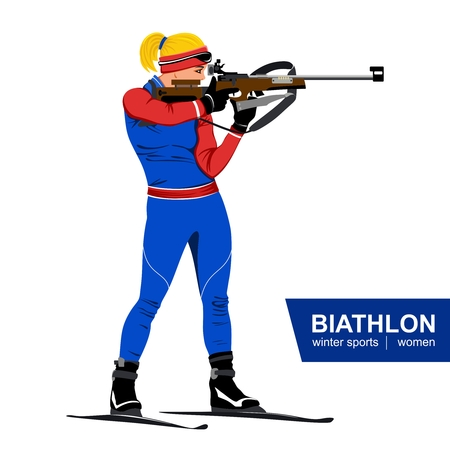 Biathlon, women, shooting standing. Vector illustration. Winter sports. White background. Illustration