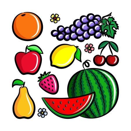 Set of fresh fruits. Simple vector illustrations lemon, apple, orange, strawberry, pear, cherry, watermelon.