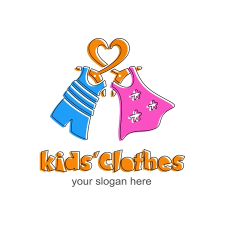 Kids clothes logo. Sign for kidsshop. Logotype with orange heart, blue t-shirt and shorts for boy. Vector template.