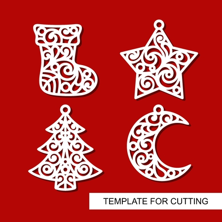 Set of christmas decoration: sock, star, xmas tree and crescent. Templates for laser cutting, wood carving or printing.