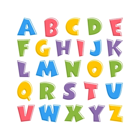 Alphabet for kids in the cartoon style. Children's font with pink, blue, yellow, green and purple letters. Vector illustration on white background.