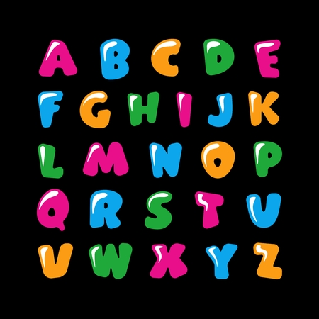Alphabet for kids in the cartoon style. Childrens font with pink, blue, yellow and green letters. Vector illustration on black background.