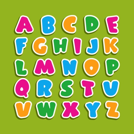 Alphabet for kids in the cartoon style. Childrens font with pink, blue, yellow and green letters. Vector illustration on green background.