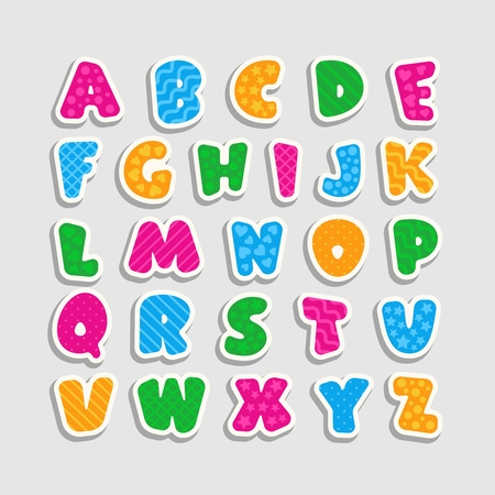 Alphabet for kids with a pattern in the form of strips, hearts, waves, stars and circles. Cartoon style. Childrens font with pink, blue, yellow and green letters. Vector illustration.