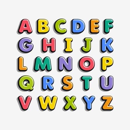 Alfabeto para niños en el estilo de dibujos animados. Fuente infantil con letras coloridas. Ilustración de vector.