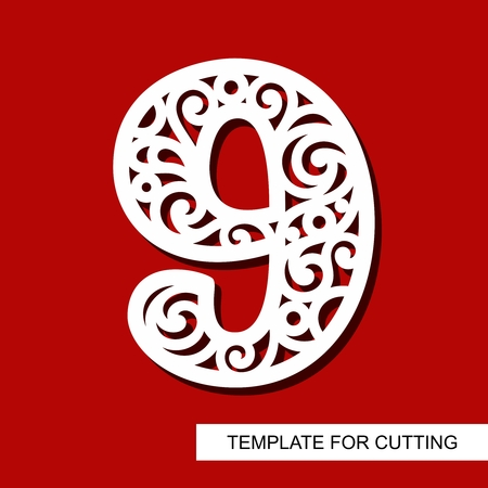 Number nine - 9. Template for laser cutting, wood carving, paper cut and printing. Vector illustration.