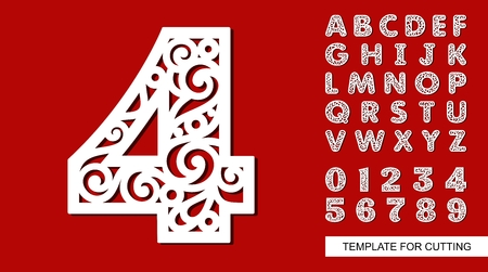 Number four - 4. Full English alphabet and digits 0, 1, 2, 3, 4, 5, 6, 7, 8, 9. Lace letters and numbers. Template for laser cutting, wood carving, paper cut and printing. Vector illustration.