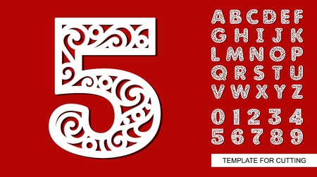 Number five - 5. Full English alphabet and digits 0, 1, 2, 3, 4, 5, 6, 7, 8, 9. Lace letters and numbers. Template for laser cutting, wood carving, paper cut and printing. Vector illustration. Ilustração