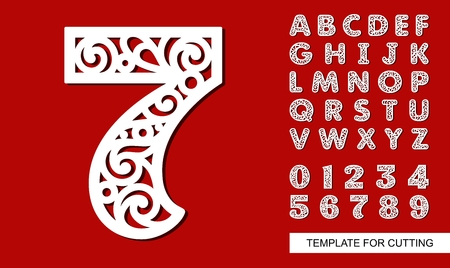 Number seven - 7. Full English alphabet and digits 0, 1, 2, 3, 4, 5, 6, 7, 8, 9. Lace letters and numbers. Template for laser cutting, wood carving, paper cut and printing. Vector illustration.