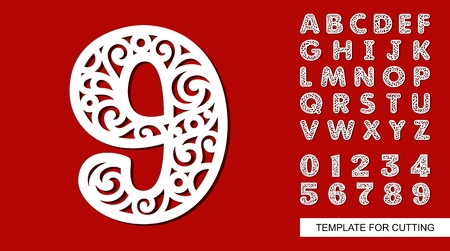 Number nine - 9. Full English alphabet and digits 0, 1, 2, 3, 4, 5, 6, 7, 8, 9. Lace letters and numbers. Template for laser cutting, wood carving, paper cut and printing. Vector illustration. Ilustração