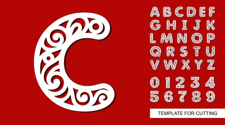 Letter C. Full English alphabet and digits 0, 1, 2, 3, 4, 5, 6, 7, 8, 9. Lace letters and numbers. Template for laser cutting, wood carving, paper cut and printing. Vector illustration. Ilustração