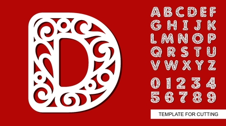 Letter D. Full English alphabet and digits 0, 1, 2, 3, 4, 5, 6, 7, 8, 9. Lace letters and numbers. Template for laser cutting, wood carving, paper cut and printing. Vector illustration. Stock Illustratie