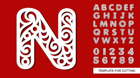 Letter N. Full English alphabet and digits 0, 1, 2, 3, 4, 5, 6, 7, 8, 9. Lace letters and numbers. Template for laser cutting, wood carving, paper cut and printing. Vector illustration.