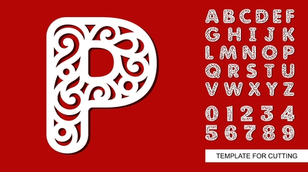 Letter P. Full English alphabet and digits 0, 1, 2, 3, 4, 5, 6, 7, 8, 9. Lace letters and numbers. Template for laser cutting, wood carving, paper cut and printing. Vector illustration.