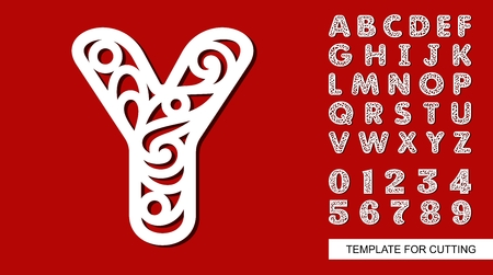 Letter Y. Full English alphabet and digits 0, 1, 2, 3, 4, 5, 6, 7, 8, 9. Lace letters and numbers. Template for laser cutting, wood carving, paper cut and printing. Vector illustration. Illustration