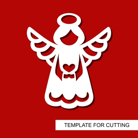Silhouette Angel - decor for Xmas holiday. Decoration for christmas tree. Template for laser cutting, wood carving, paper cut and printing. Vector illustration.