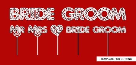Words Groom, Bride. Toppers for cake heart, Mr, Mrs, Groom, Bride. Template for laser cutting, wood carving, paper cut and printing. Decor for photo session. Vector illustration. Archivio Fotografico - 102558018