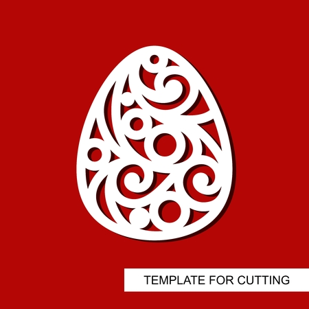 Decorative element - Easter Egg. Template for laser cutting, wood carving, paper cut and printing. Vector illustration.