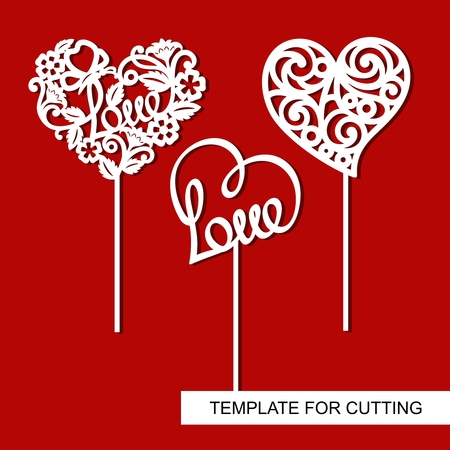 Set of toppers. Hearts. Decoration for Valentine's Day. Template for laser cutting, wood carving, paper cut and printing. Stock Illustratie