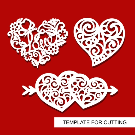 Set of Decoration for Valentine's Day. Hearts. Template for laser cutting, wood carving, paper cut and printing.