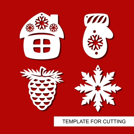 Set of christmas Decoration - silhouettes of pine cone, mitten, hut (small house), snowflake. Template for laser cutting, wood carving, paper cut. Decor for xmas tree. Vector illustration.