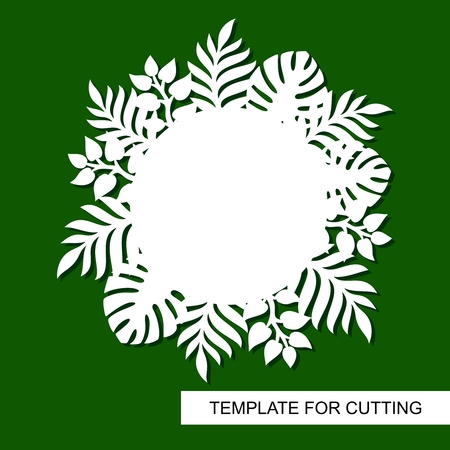 Theme of plants. Silhouettes of tropical palm leaves, monstera, jungle leaves and a white square for text. A template for laser cutting, wood carving, paper cutting and printing. Vector illustration. Illustration