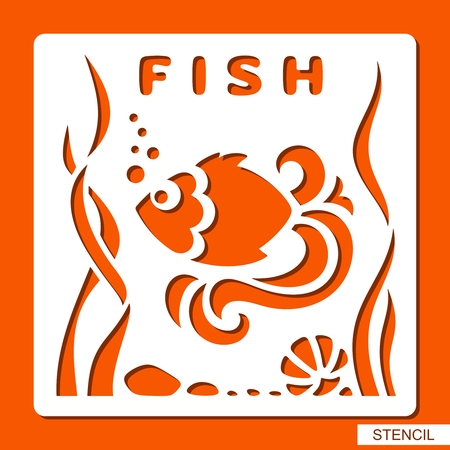 Stencil for children. Fish, seaweed, stones and shell. Template for laser cutting, wood carving, paper cut and printing. Vector illustration.