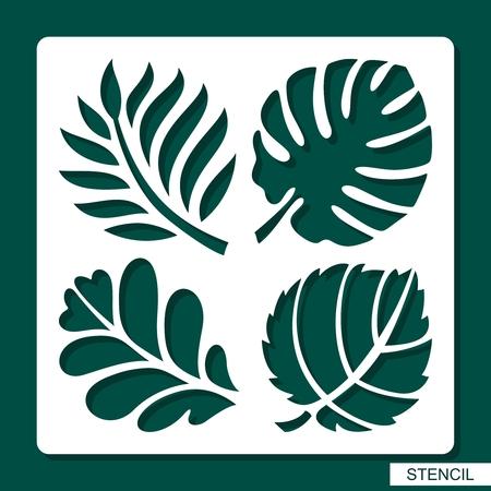 Schablone. Blumenthema. Silhouetten von tropischen Palmblättern, Monstera, Dschungelblättern, Blättern Ahorn, Eiche, Espe. Vorlage zum Laserschneiden, Holzschnitzen, Papierschneiden und Drucken. Vektorillustration.