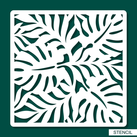 Stencil. Plants theme. Silhouettes of palm leaves. A template for laser cutting, wood carving, cutting and printing paper. Vector illustration.