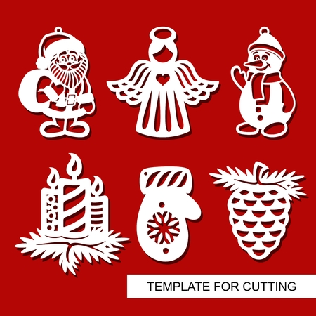 Set of christmas Decoration - silhouettes of Angel, Santa Claus, Snowman, candles, pine cone, mitten. Template for laser cutting, wood carving, paper cut. Decor for xmas tree. Vector illustration. Ilustração